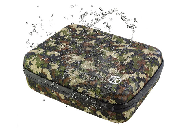 CamKix go pro skeleton storage travel case Water Resistant camouflage nylon covering and carabiner carrying